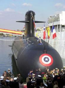 Botadura en Cartagena de un submarino Scorpène para Chile.  EFE