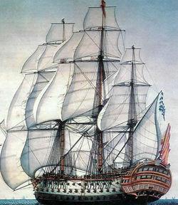 El navío Santísima Trinidad, construido en los astilleros de La Habana; comandado por Francisco Javier de Uriarte y Borja y el general Baltasar Hidalgo de Cisneros. Fue desarbolado, apresado y hundido.