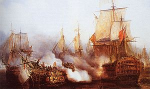 El Redoutable y el HMS Temeraire se baten en Trafalgar, óleo de Auguste Mayer.