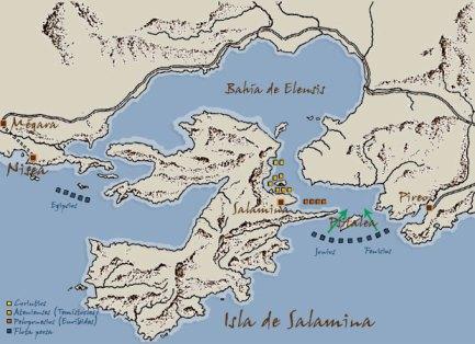 Escenario de la batalla de Salamina y posición de las flotas.