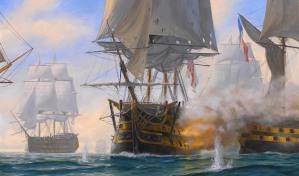 Ilustración del momento en que el HMS Victory dispara una andanada al buque francés Bucentaure.