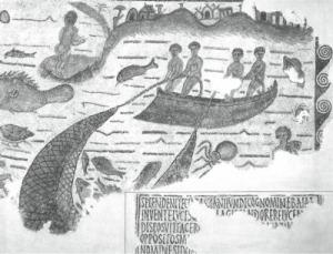 Yacoub.  Esta es uno de los mosaicos más antiguos que muestra la pesca con red barredera (Bizerte, Túnez, siglo V)