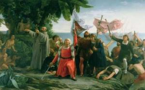 Painting depicting the First Landing of Christopher Columbus  Photo: Getty Images/The Bridgeman Art Library