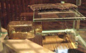 Peinetas para despiojar y frasco de medicamentos. Encontrados en una de las cubiertas del Vasa. Foto MV.