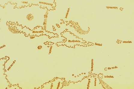 First known map to include Bermuda (shown as La Bermude, top right. lower case, upside down)