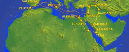 Mapa de la primera travesía de Ibn Yubair desde Ceuta hasta La Meca.