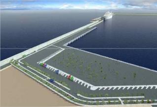 Futuro muelle de cruceros construido por la APV en la ampliación norte, junto a la marina real.  apv