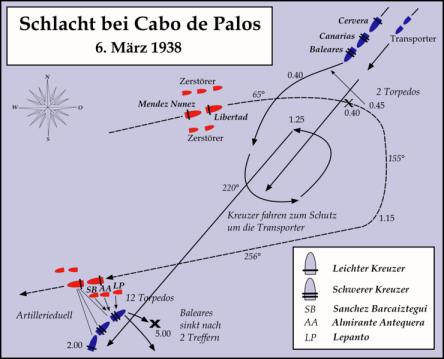 Fecha5 - 6 de marzo de 1938Lugar Cabo de Palos, frente a las costas de Cartagena.Coordenadas37°52′18″N 0°52′00″ECoordenadas: 37°52′18″N 0°52′00″E (mapa)ResultadoVictoria republicana. El Crucero Baleares es hundido por la Armada republicana.Desde http://es.wikipedia.org