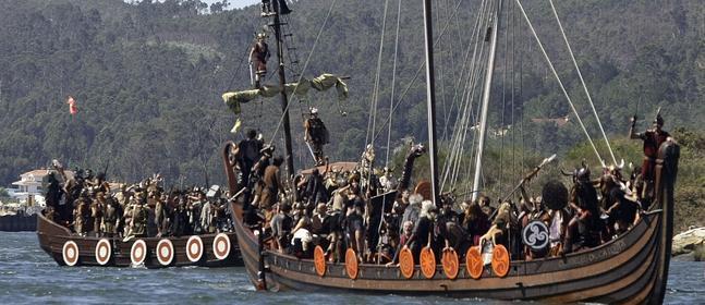 Recreación de un desembarco vikingo. / Archivo