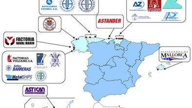 Distribución geográfica de los astilleros españoles. Gráfico: PYMAR