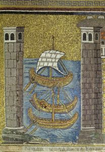 La flota bizantina, en un mosaico del siglo VI en Rávena (Italia).
