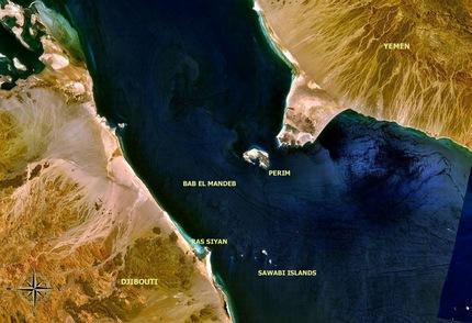 estrecho Bab el Mandeb. Foto de la NASA