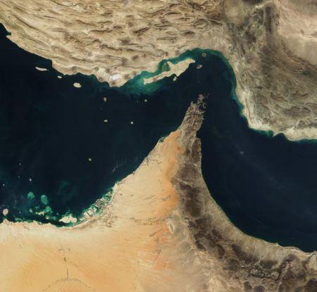 Vista del estrecho de Ormuz desde el espacio