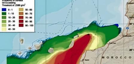 Mapa del riesgo de mareas negras incluido en el informe de impacto ambiental de Repsol.