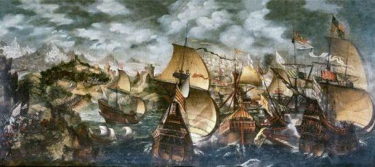 La Armada Invencible navegando frente a Cornualles. (Nicholas Hilliard)