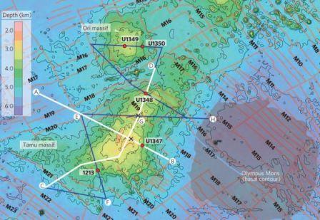 Imagen aportada en el artículo sobre el Macizo Tamu, un volcán submarino en el Pacífico, en el que se compara su tamaño con el del Monte Olimpo, en Marte.