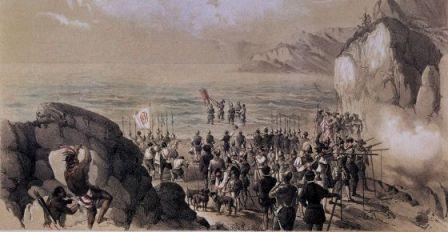 """Núñez de Balboa se sumerge con yelmo y coraza en el mar y dedica el hallazgo """"a los muy altos y poderosos reyes don Fernando y doña Juana"""". / ALBUM"""