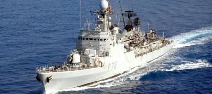 Fotografía facilitada por el Ministerio de Defensa que muestra al patrullero de la Armada española 'Cazadora'