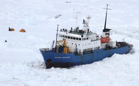 The MV Akademik Shokalskiy stuck in the ice. Photo: Xinhua