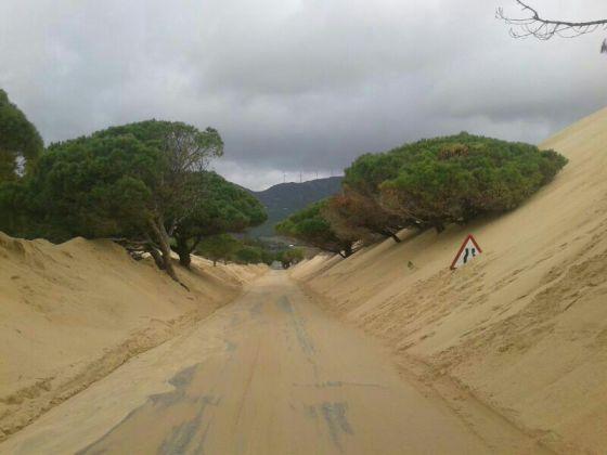 La carretera junto a la duna de Valdevaqueros, el pasado martes. / R. M.