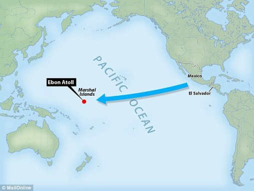 Miraculous survival: Jose Ivan, claims to have set off from Mexico for El Salvador in December 2012 but ended up traveling more than 8,000 miles to the Ebon Atoll