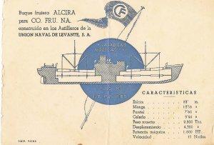 Invitación. Acto de botadura del buque 'Alcira' con su características. :: LP