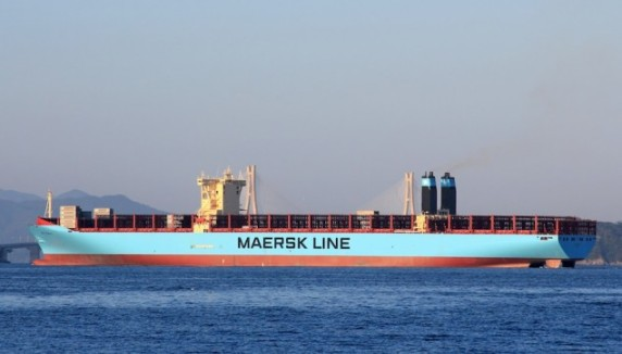 MV Mary Maersk departs Busan, South Korea, September 16, 2013. Image (c) Vladimir Toniæ