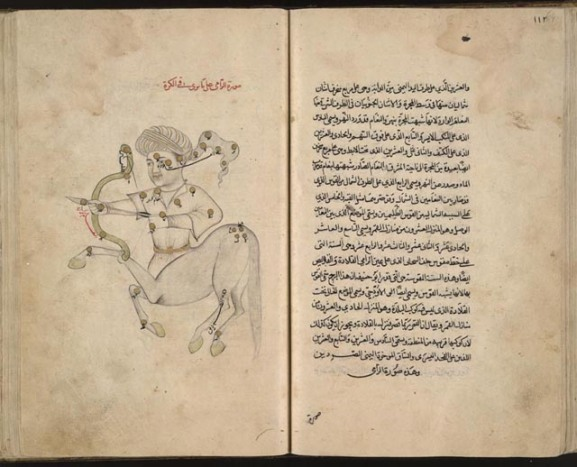 Azophi's Book of Fixed Stars, which described more than a thousand stars in detail and gave the first descriptions on the Andromeda Galaxy and Large Magellanic Cloud. The constellation pictured here is Sagittarius.. Wikipedia.