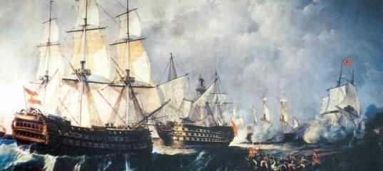 Rescate del navío de línea Santisima Trinidad, centro, por el navío Infante don Pelayo, izquierda. (Antonio de Brugada Vila)