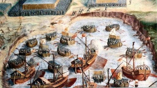 Niccolò Granello Desembarco de los tercios, fresco en la Sala de las batallas del Monasterio de El Escorial
