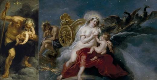 Dos obras de Rubens: Saturno devorando a sus hijos y El nacimiento de la Vía Láctea. Foto:Museo del Prado