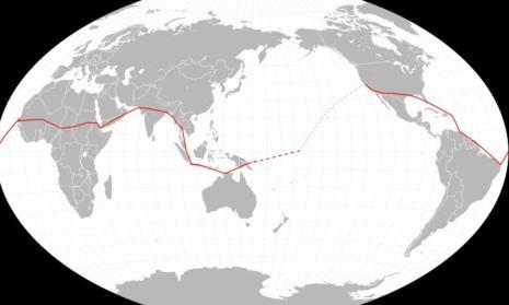 Ruta prevista de Earhart. La línea continua representa la ruta realizada. (Wikimedia Commons)