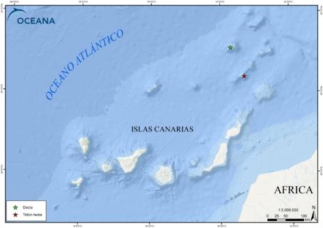 Localización de las montañas submarinas Dacia y Tritón. OCEANA