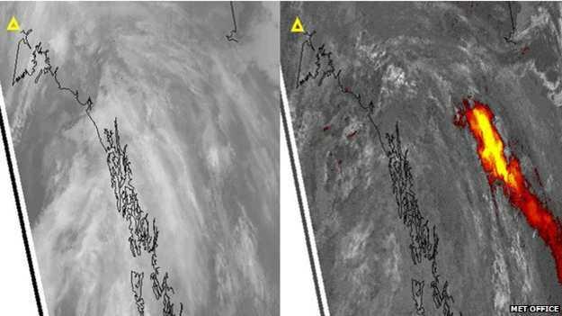 El Monte Spurr en Alaska (marcado con un triángulo) lanza una nube de ceniza volcánica.¿Dónde está? La imagen satelital infrarroja tiene la respuesta.