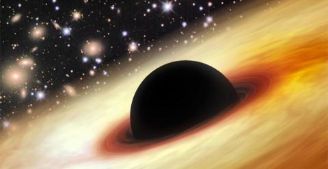Representación de un cuásar con un agujero negro supermasivo en el Universo lejano. ZHAOYU LI / SHANGHAI ASTRONOMICAL OBSERVATORY