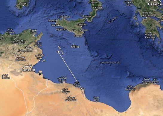 Ruta desde las costas de Misrata hacia Lampedusa