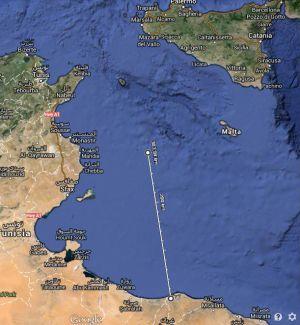 Ruta desde Trípolia hacia Lampedusa