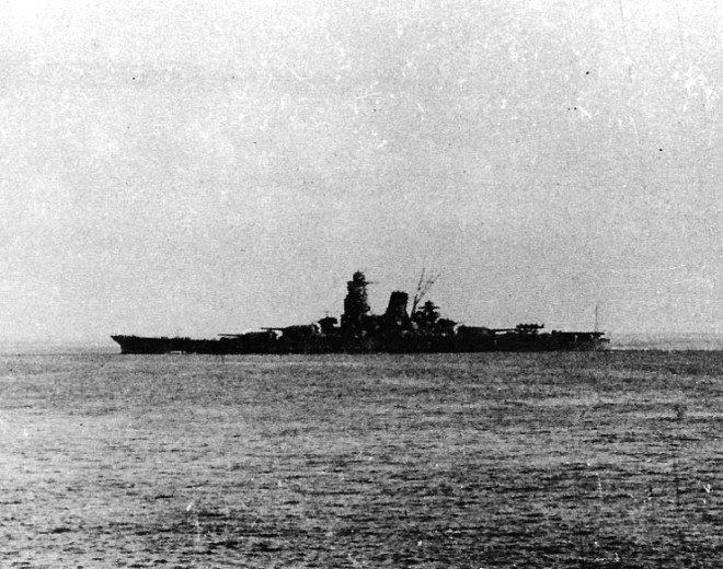 Japanese battleship Musashi departing Brunei 1944.
