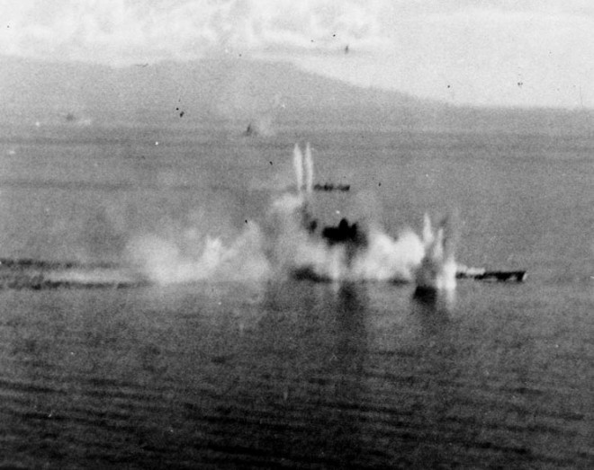 October 24, 1944: Musashi under attack by US aircraft in the Sibuyan Sea.