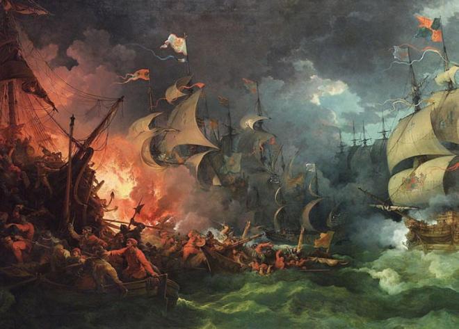 La Armada Española retratada por Philip James de Loutherbourg.