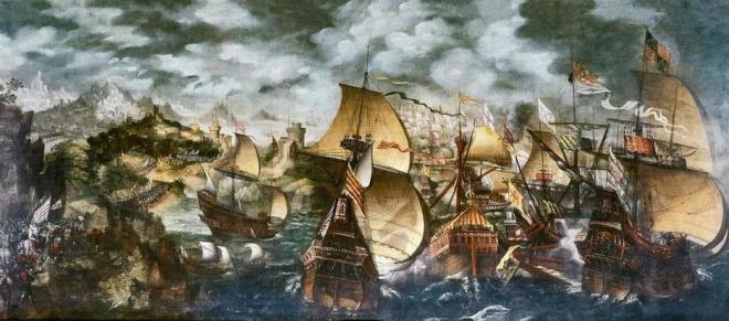 La Armada Invencible, atribuido al pintor inglés Nicholas Hilliard.