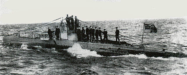 Submarino Alemán U-20 que hundió al Transatlántico Lusitania. Fuente: La segunda guerra