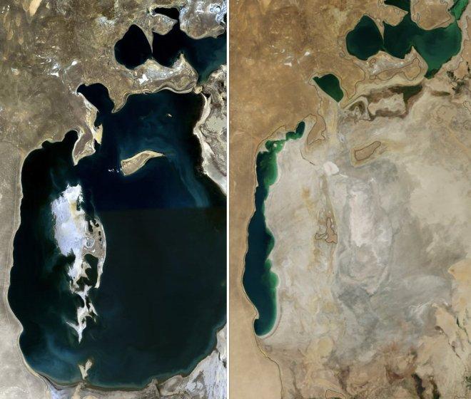 A la izquierda El Mar Aral en 1989, a la derecha en 2014