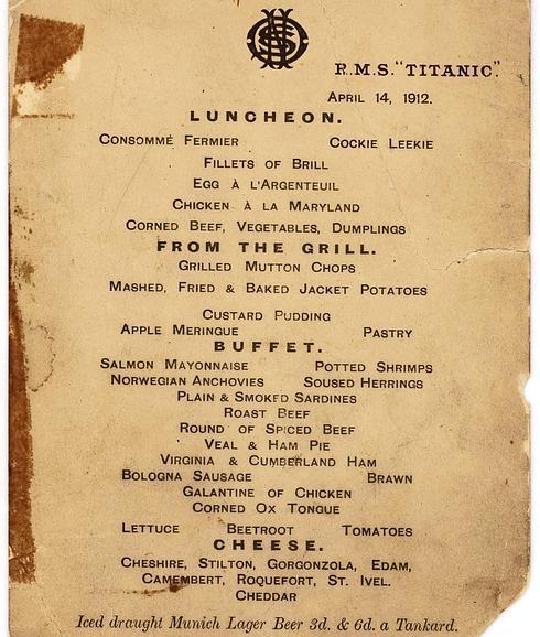 Carta de la última cena servida al pasaje de primera clase del 'Titanic'. / Reuters