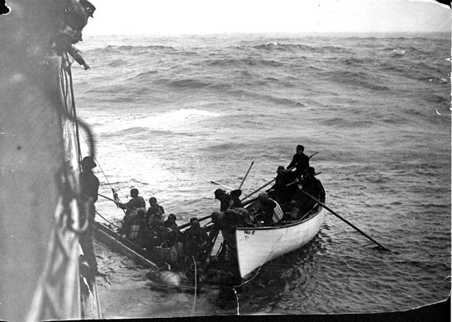 Survivors on a life raft being rescued by the SS City of Topeka Wikipedia